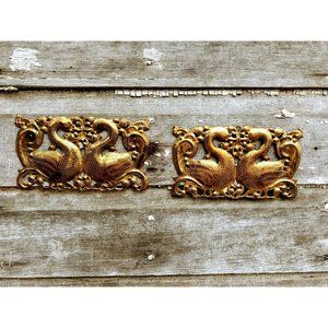 Vintage Brass Etched Swans Wall Plaques
